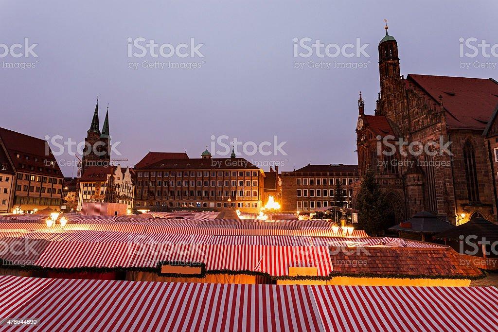 Christmas stalls on Hauptmarkt stock photo