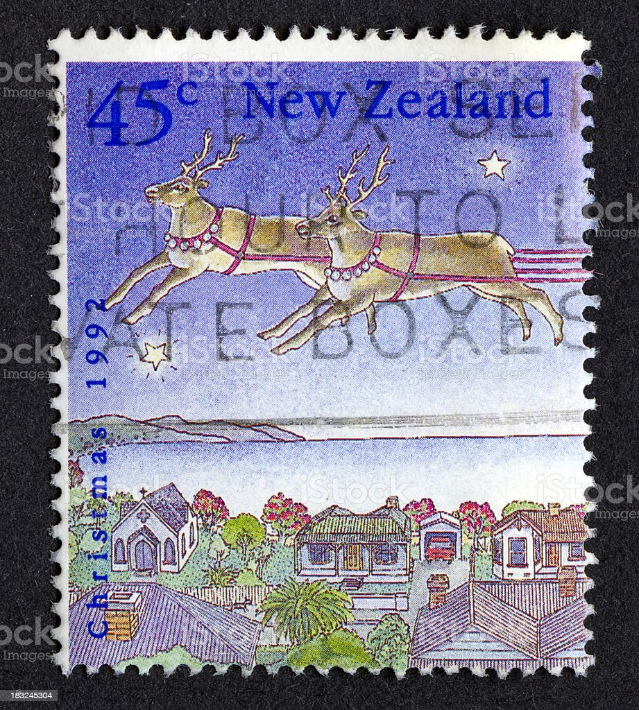 Christmas stamp from New Zealand stock photo