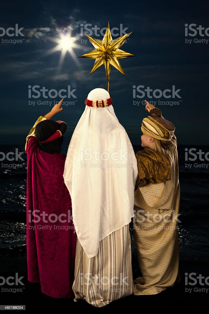 Christmas star and wise men stock photo