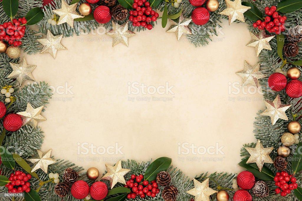 Christmas Star Background  Border stock photo