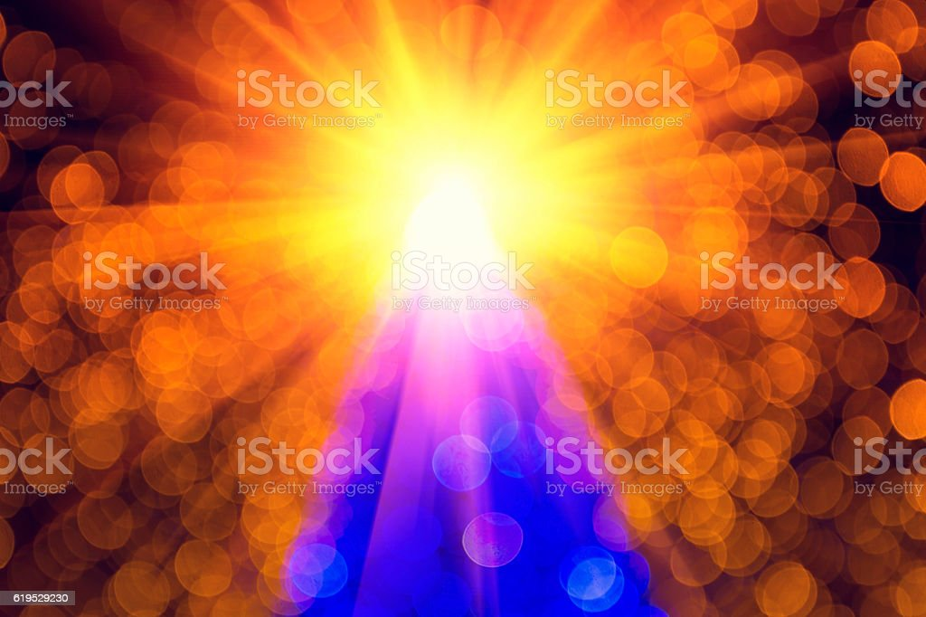 Christmas Star bokeh abstract with fairy lights stock photo