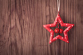 Christmas star decoration with copy space