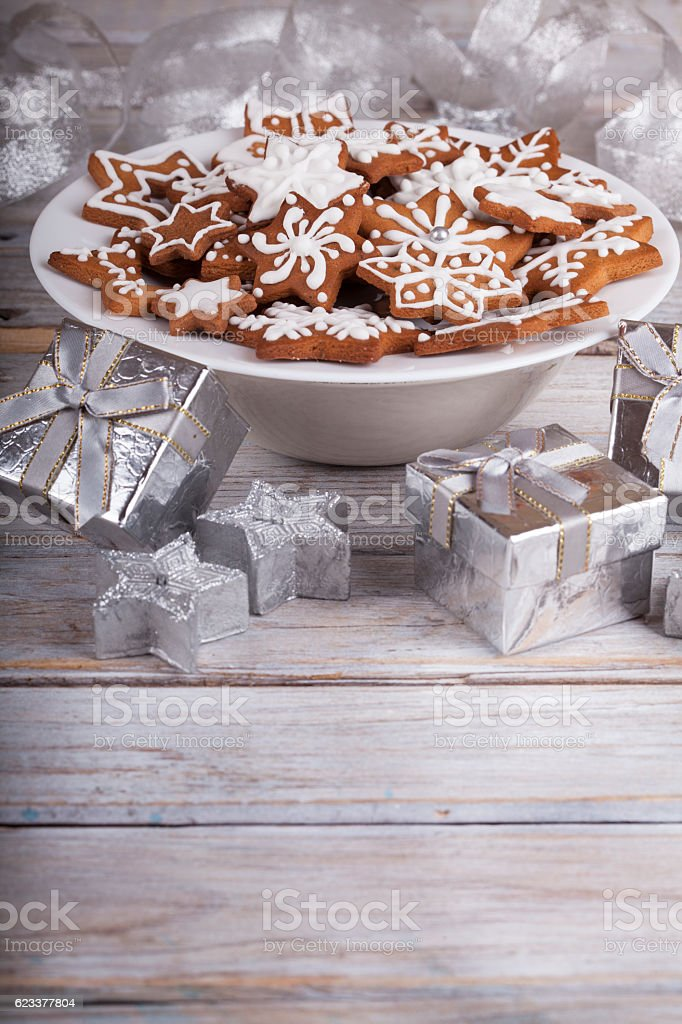 Christmas Star Gingerbread Cookies stock photo