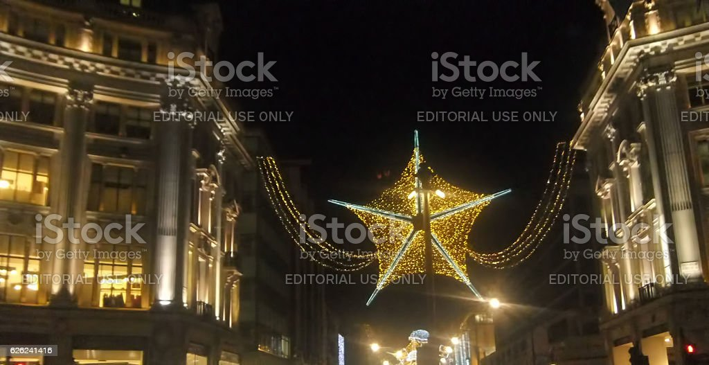 christmas star in the street stock photo