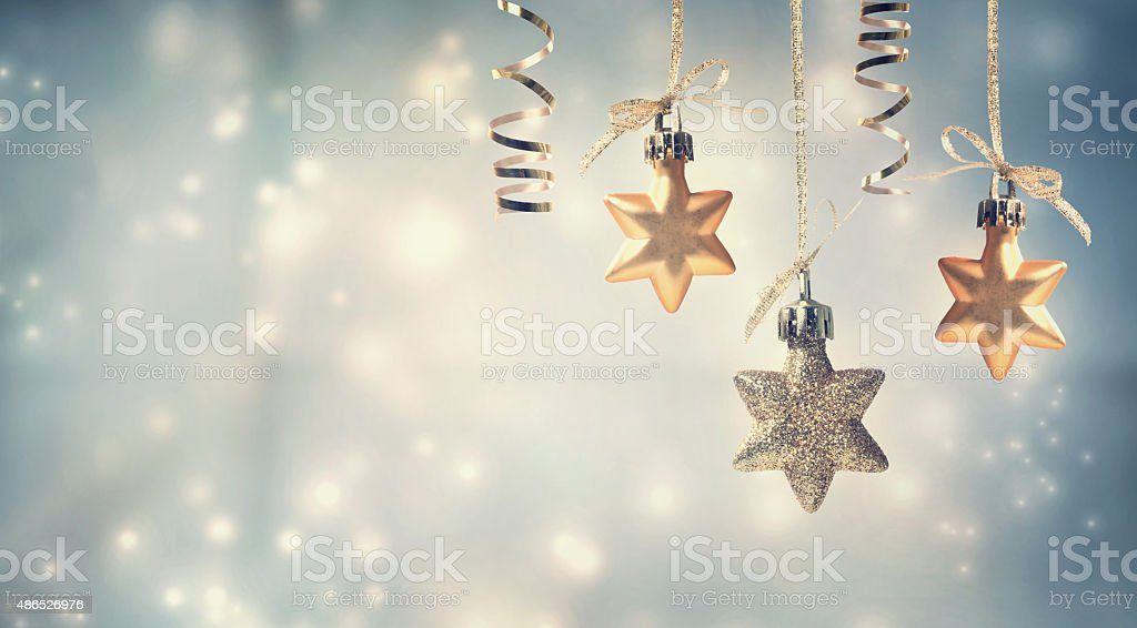 Christmas star ornaments stock photo