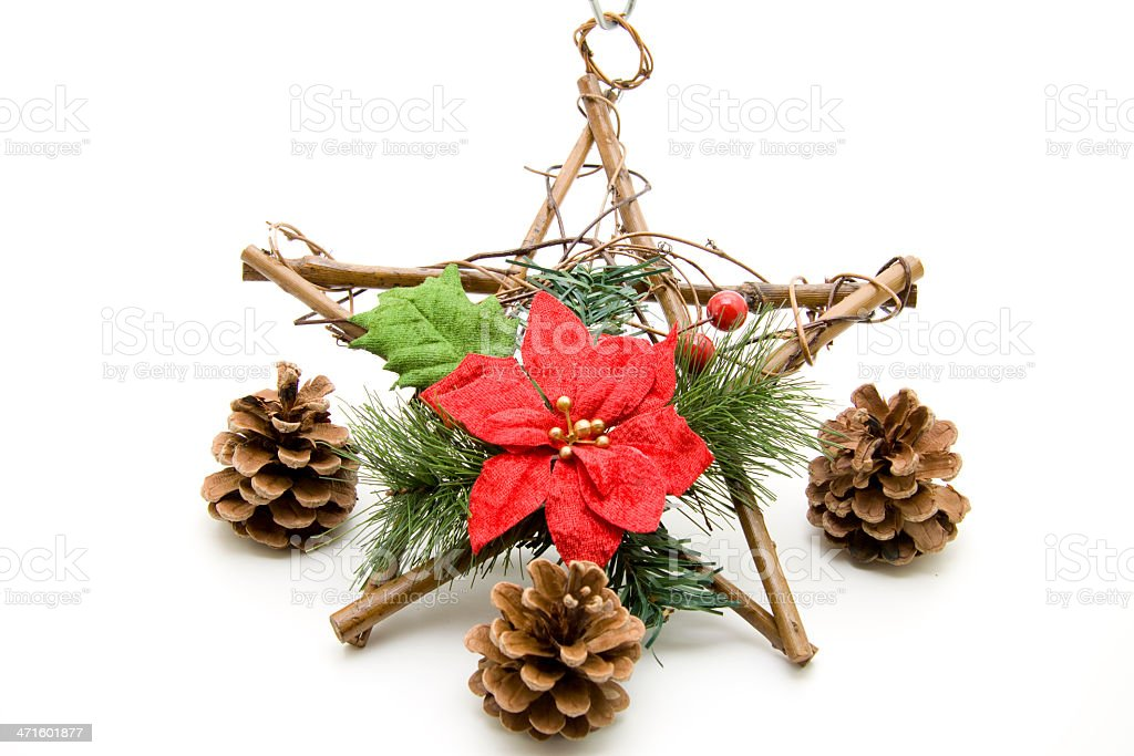 Christmas star with flower and fir cone royalty-free stock photo