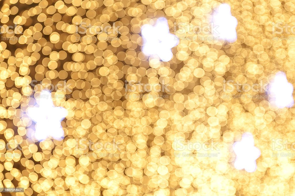 christmas stars with defocused lightdots gold n silver royalty-free stock photo