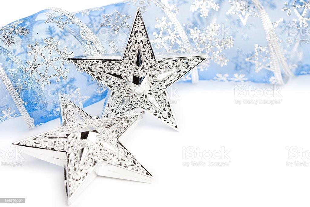 Estrelas de Natal com fita de Festivo foto de stock royalty-free