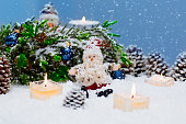 Christmas still life is with snow.