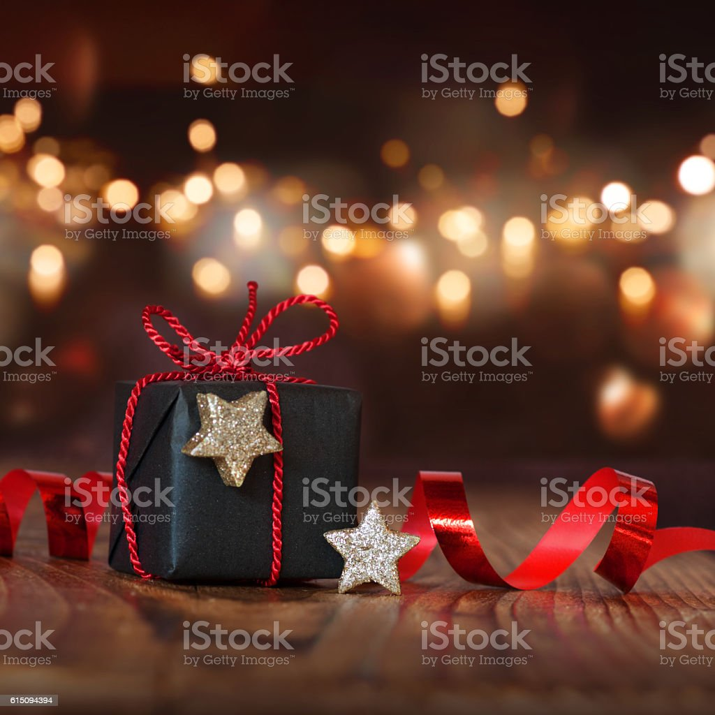 Christmas still life with a gift stock photo