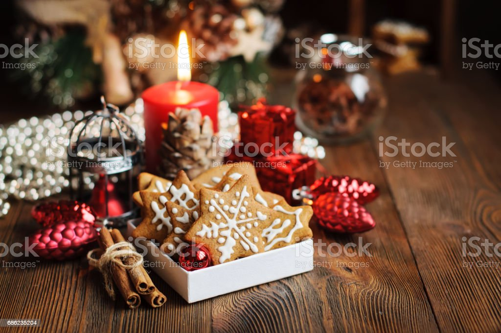 Christmas still life with biscuits stock photo