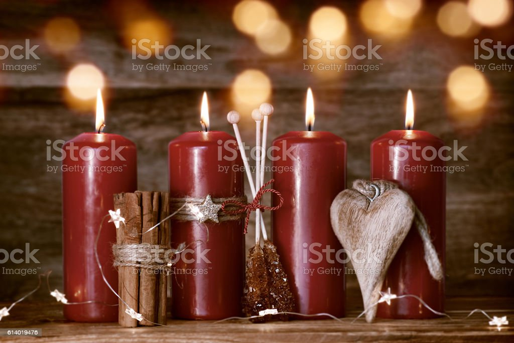 Christmas still life with candles stock photo