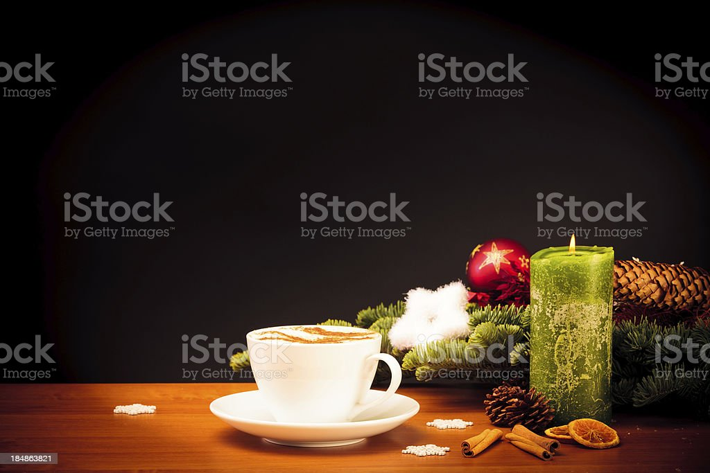 christmas still life with cup of coffee royalty-free stock photo