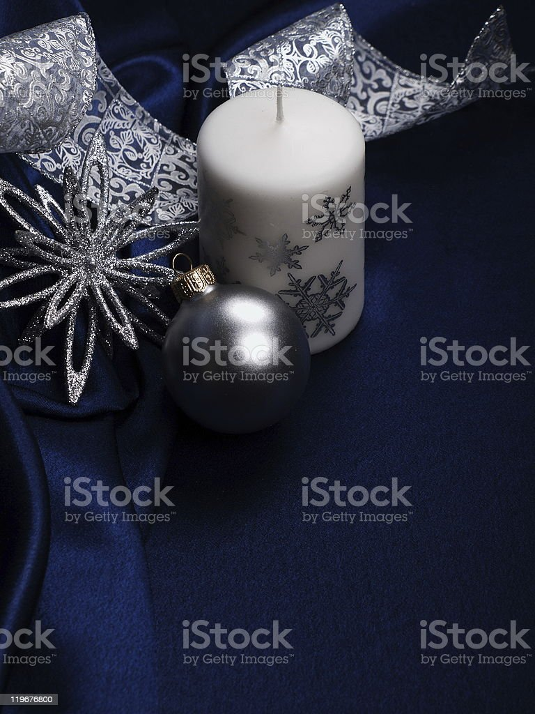 Christmas still life with decorations stock photo