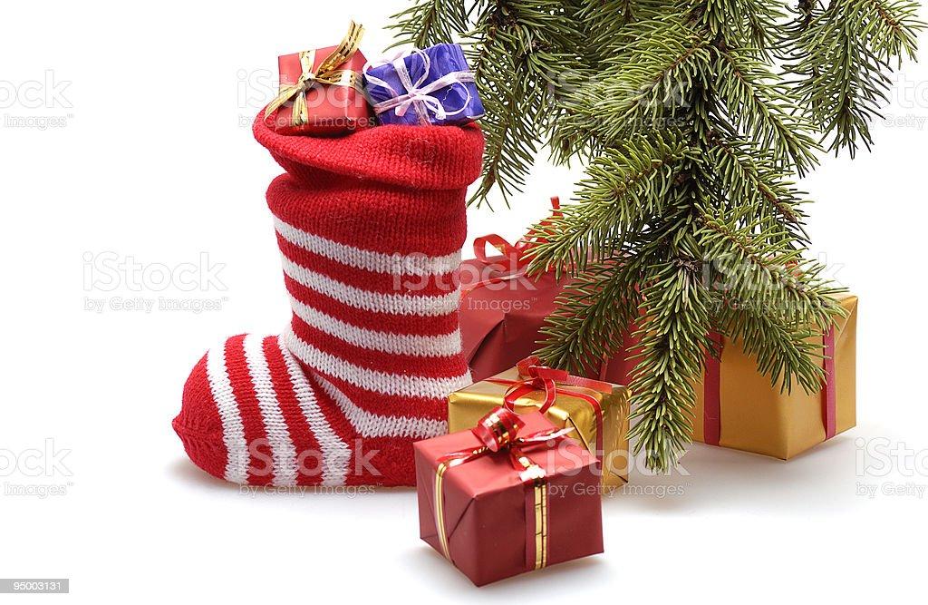 christmas stocking and presents stock photo