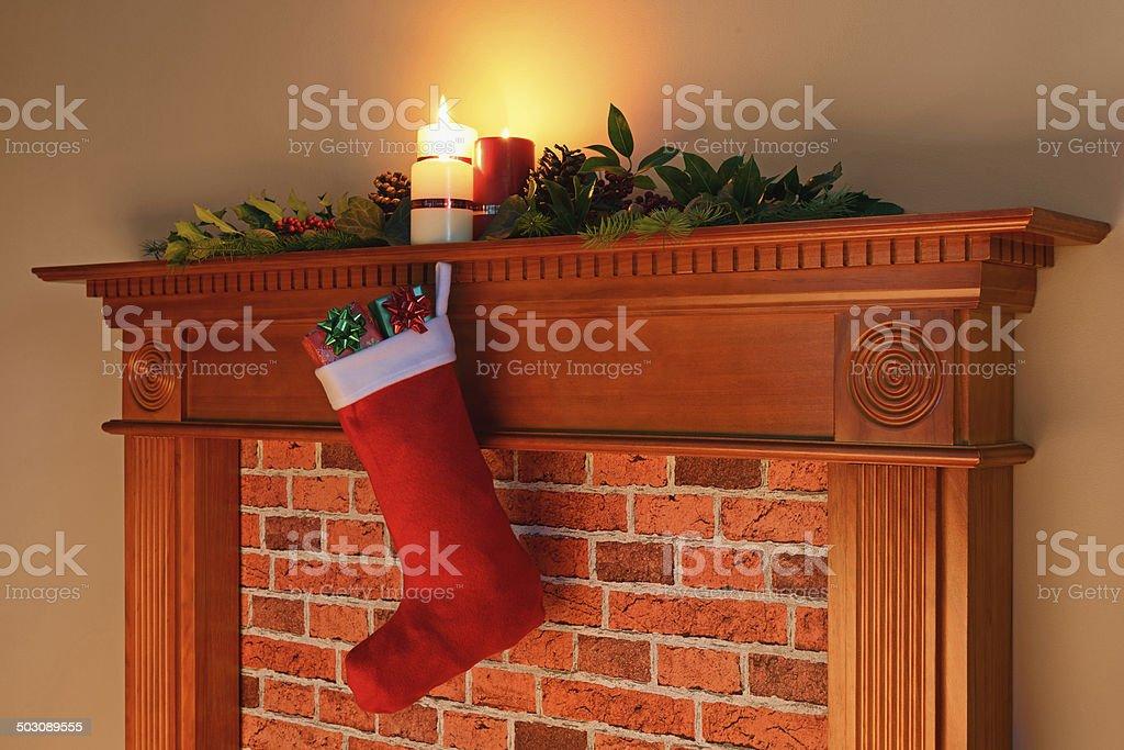 Christmas stocking fire glow royalty-free stock photo