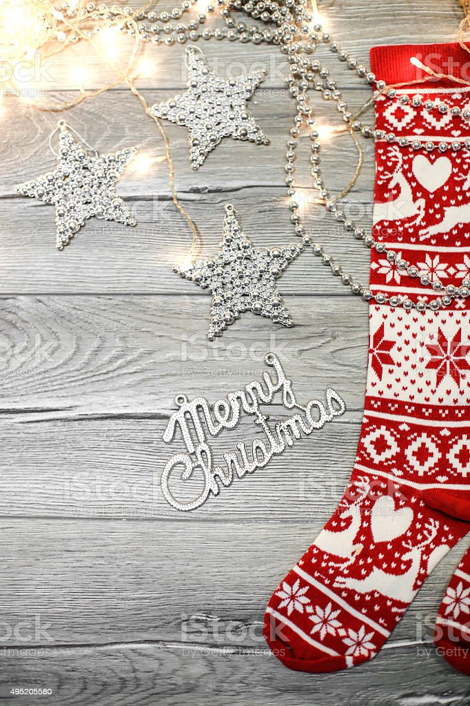 Christmas Stocking on plank wood stock photo