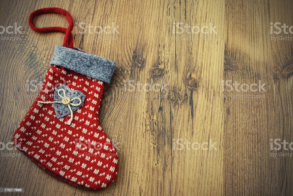 Christmas Stocking on table with copy space stock photo