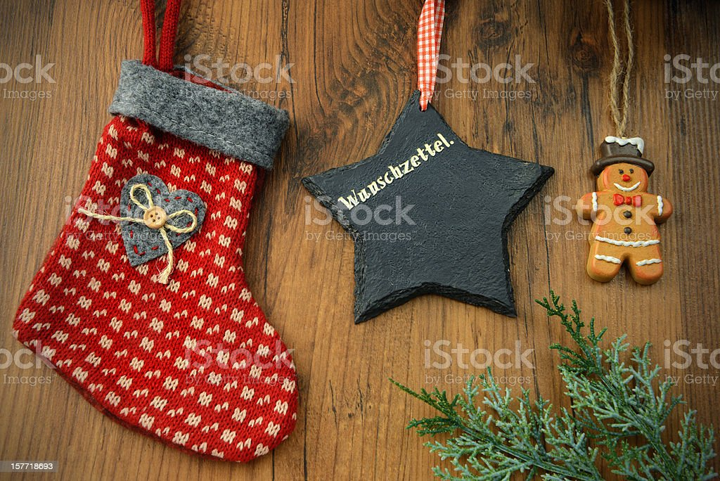 Christmas Stocking star and snow man cookie on table stock photo
