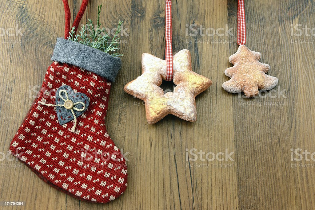 Christmas Stocking with cookies stock photo