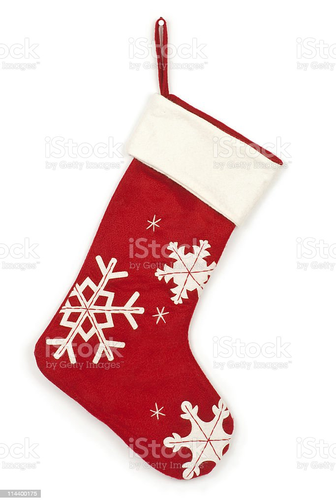 Christmas stocking with shadow on white background stock photo
