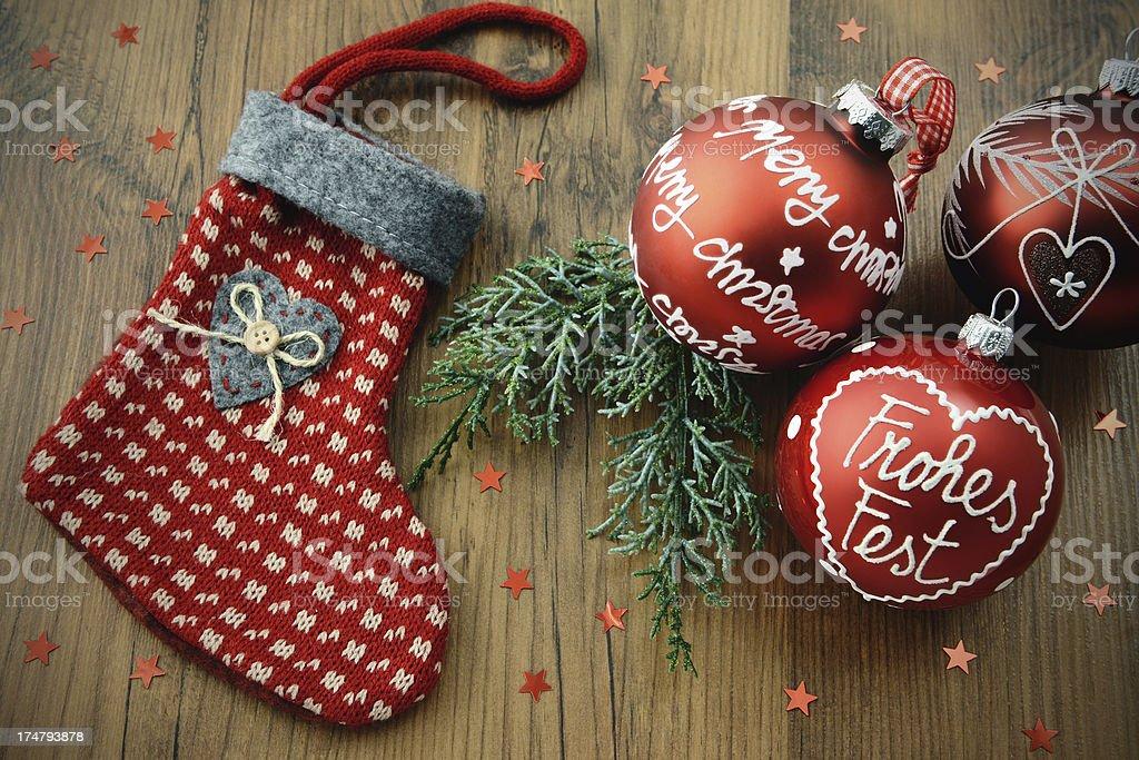 Christmas Stocking with Xmas ornaments stock photo