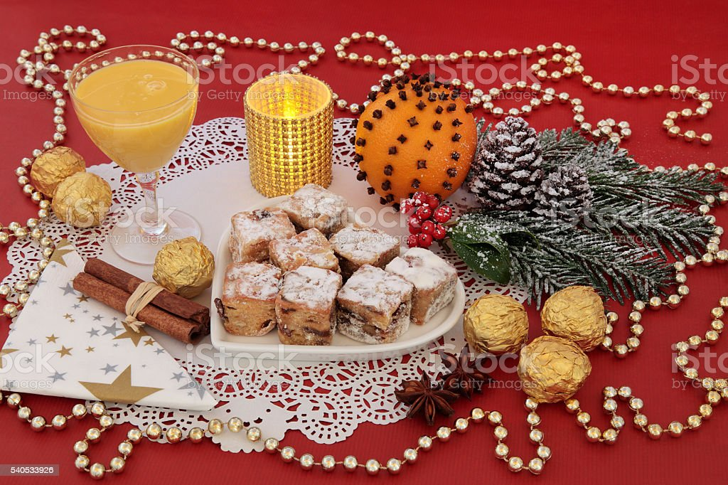 Christmas Stollen Cakes and Egg Nog stock photo