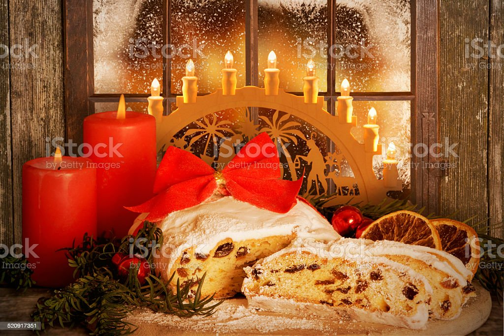 Christmas Stollen, Dresden Stollen with Candle Arch stock photo