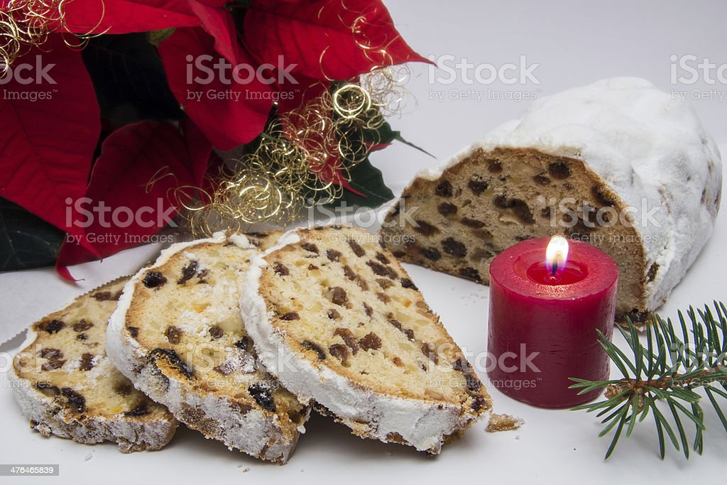 Christmas stollen stock photo