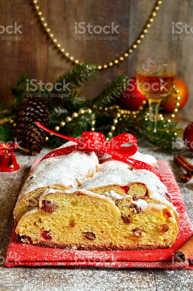Christmas stollen. stock photo