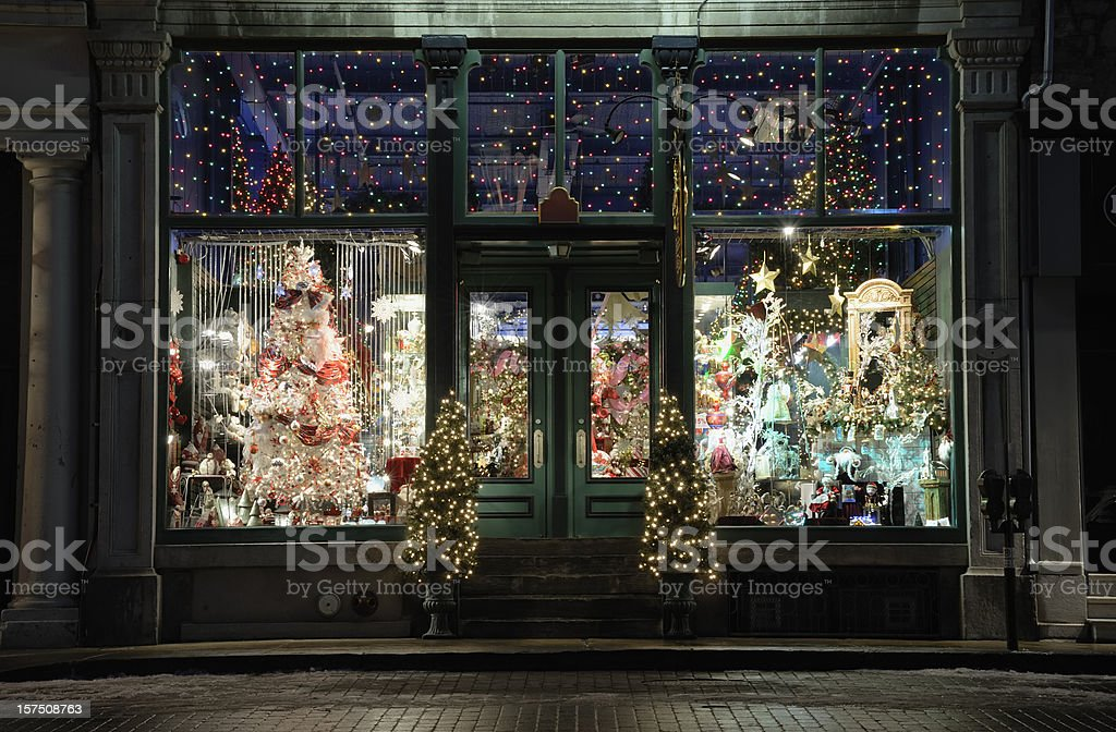 Christmas store window display stock photo
