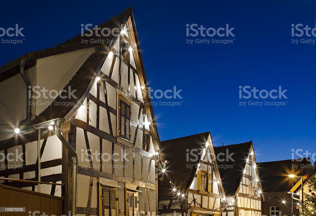 Christmas Street At Night royalty-free stock photo