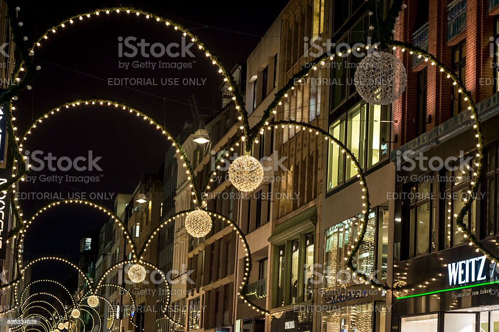 Christmas street decoration, Hamburg, Germany stock photo