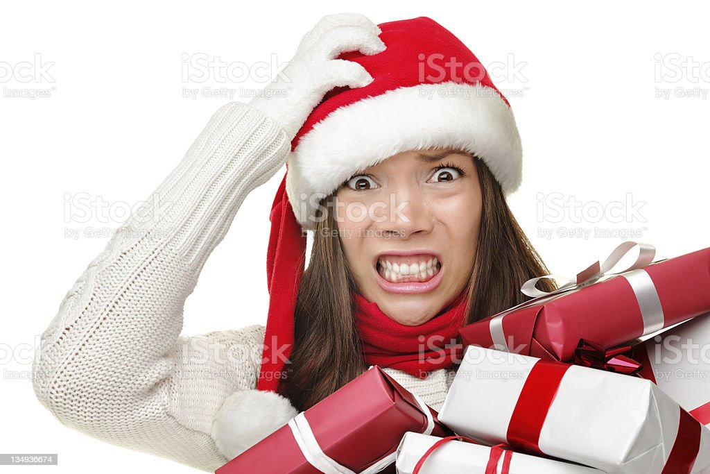Christmas stress - busy santa woman stock photo