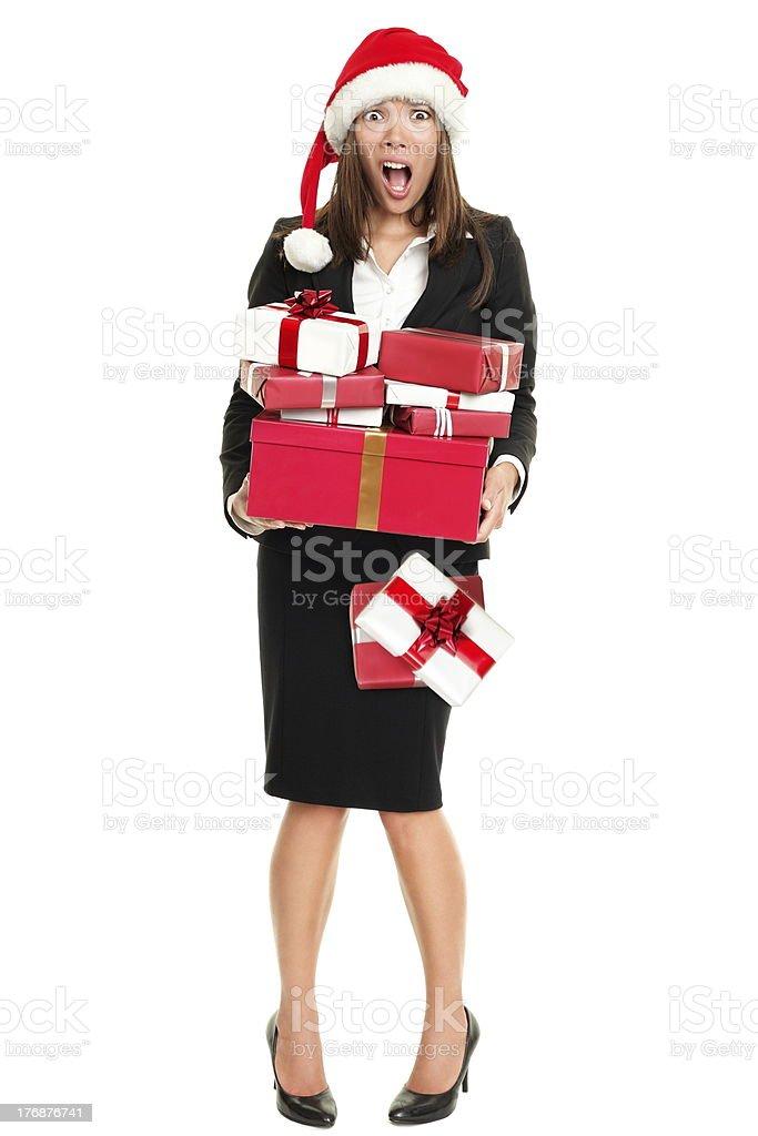 Christmas stress woman shopping gifts stock photo