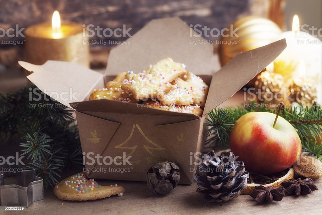 Christmas Sugar Cookies In A Paper Gift Box Stock Photo 503082329