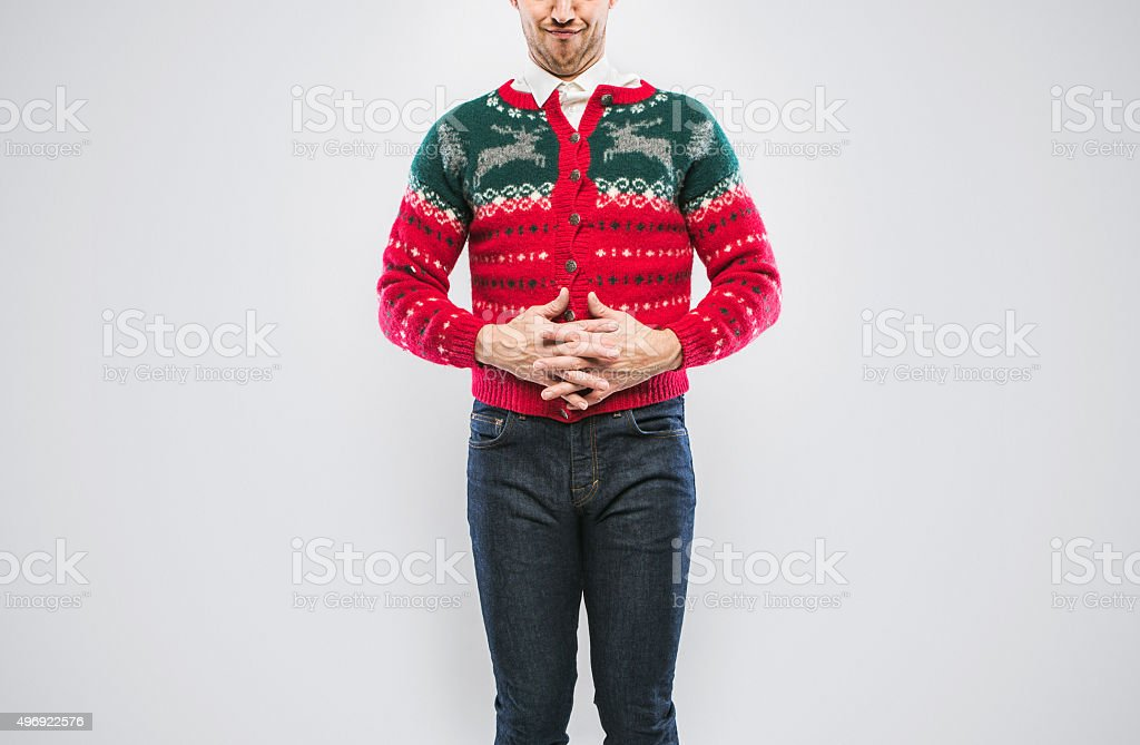 Christmas Sweater Man stock photo