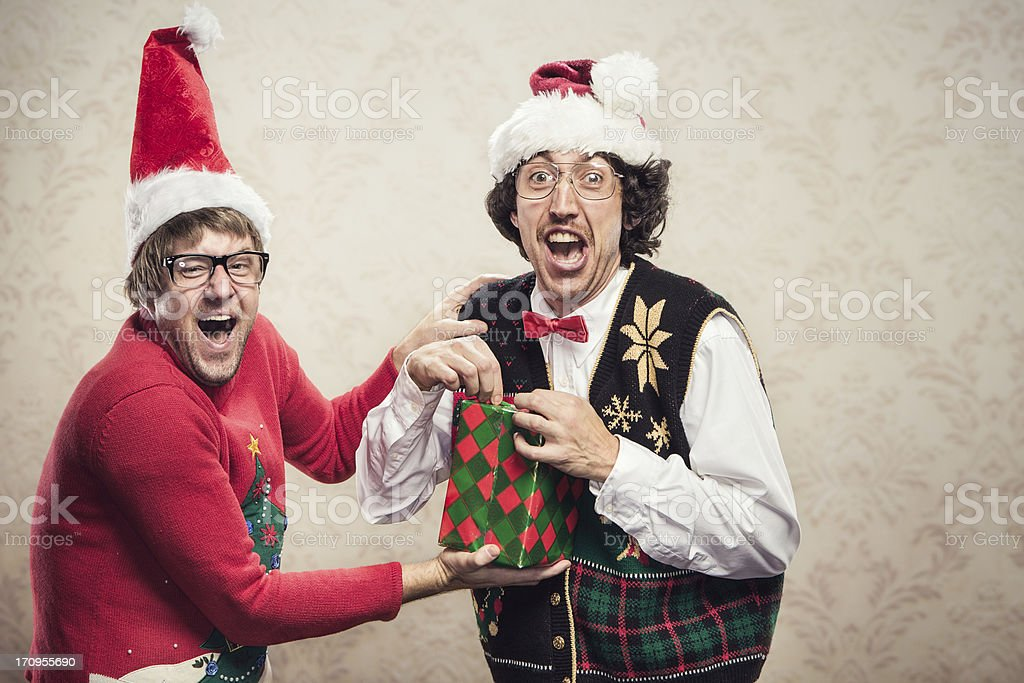 Christmas Sweater Nerds royalty-free stock photo
