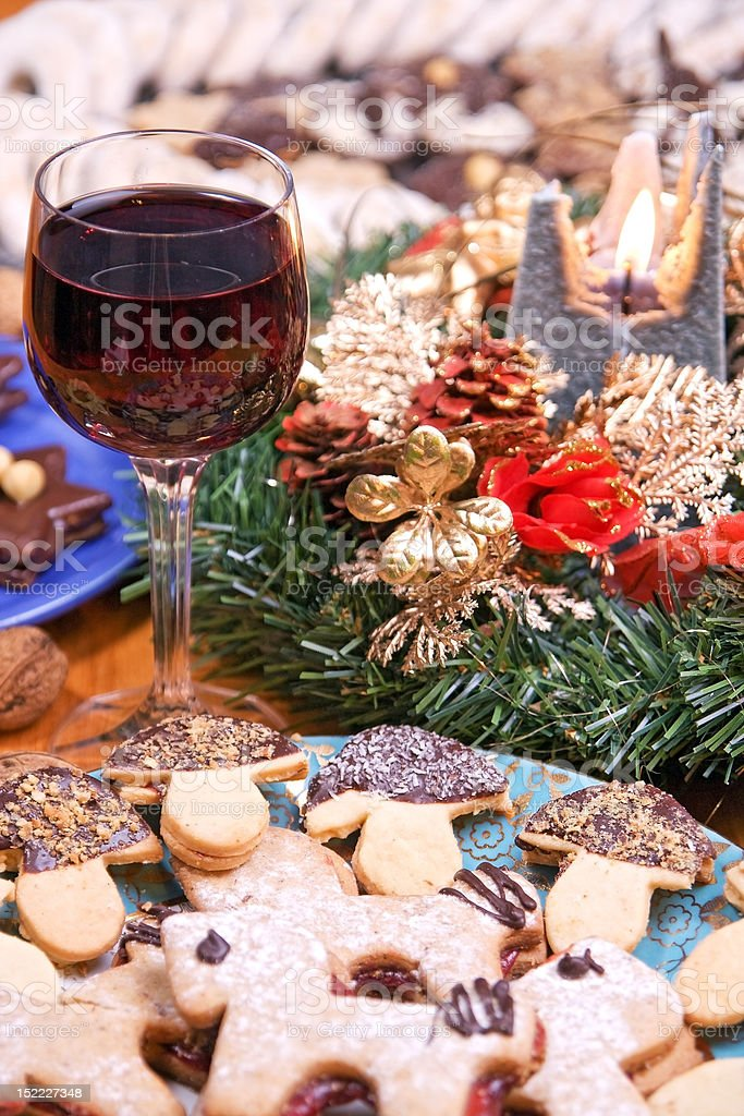 Christmas sweets and wine royalty-free stock photo