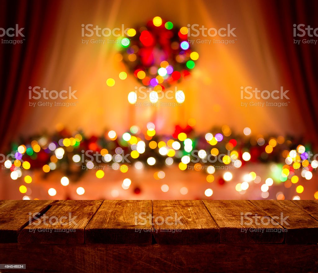 Christmas Table Blurred Lights Background, Wood Desk Focus, Wooden Plank stock photo