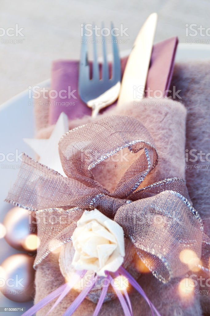 Christmas table decoration for a festive meal stock photo