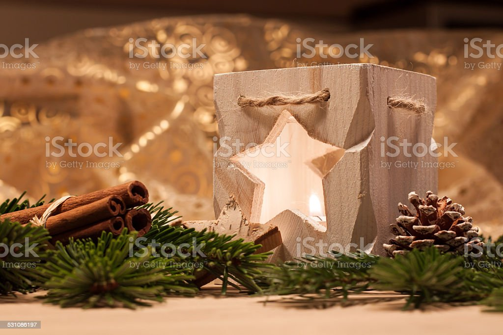 Christmas table decoration stock photo