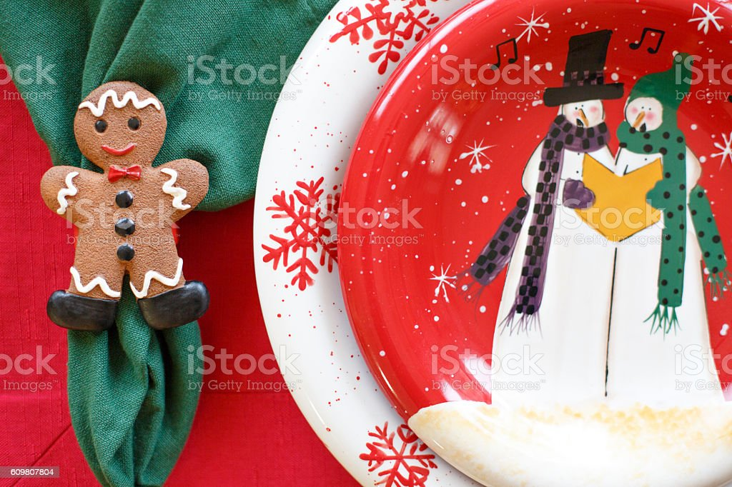 Christmas Table Holiday Dining Dinner Setting Arrangement Closeup royalty-free stock photo