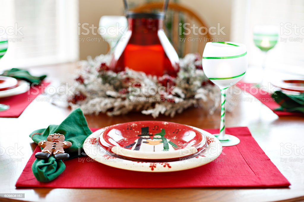Christmas Table Holiday Dining Dinner Setting Arrangement royalty-free stock photo