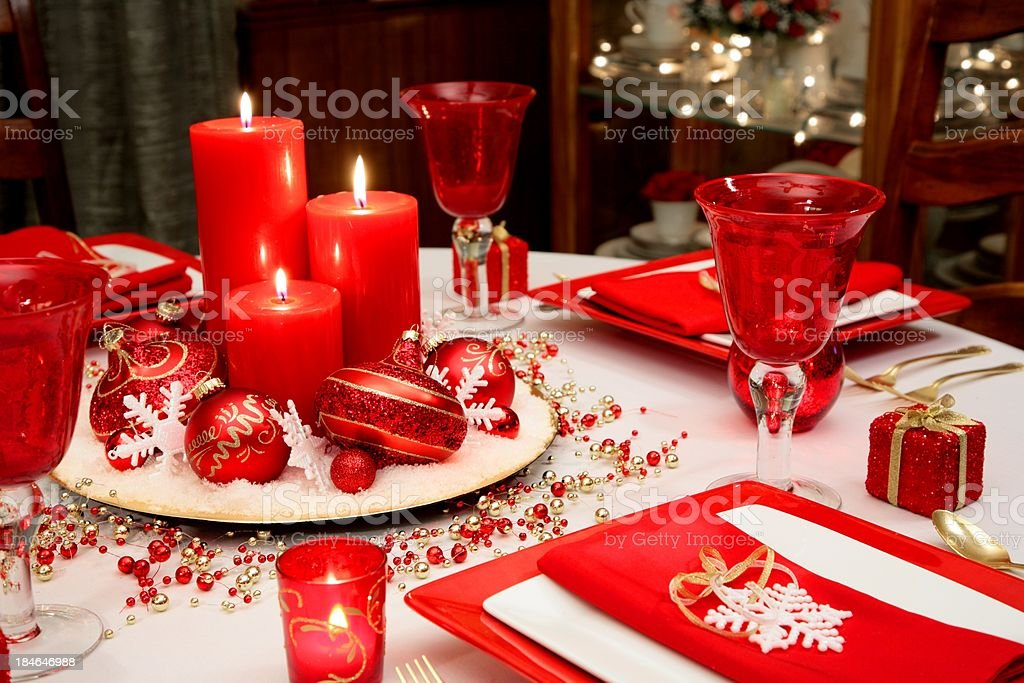 Christmas Table in Red White and Gold royalty-free stock photo
