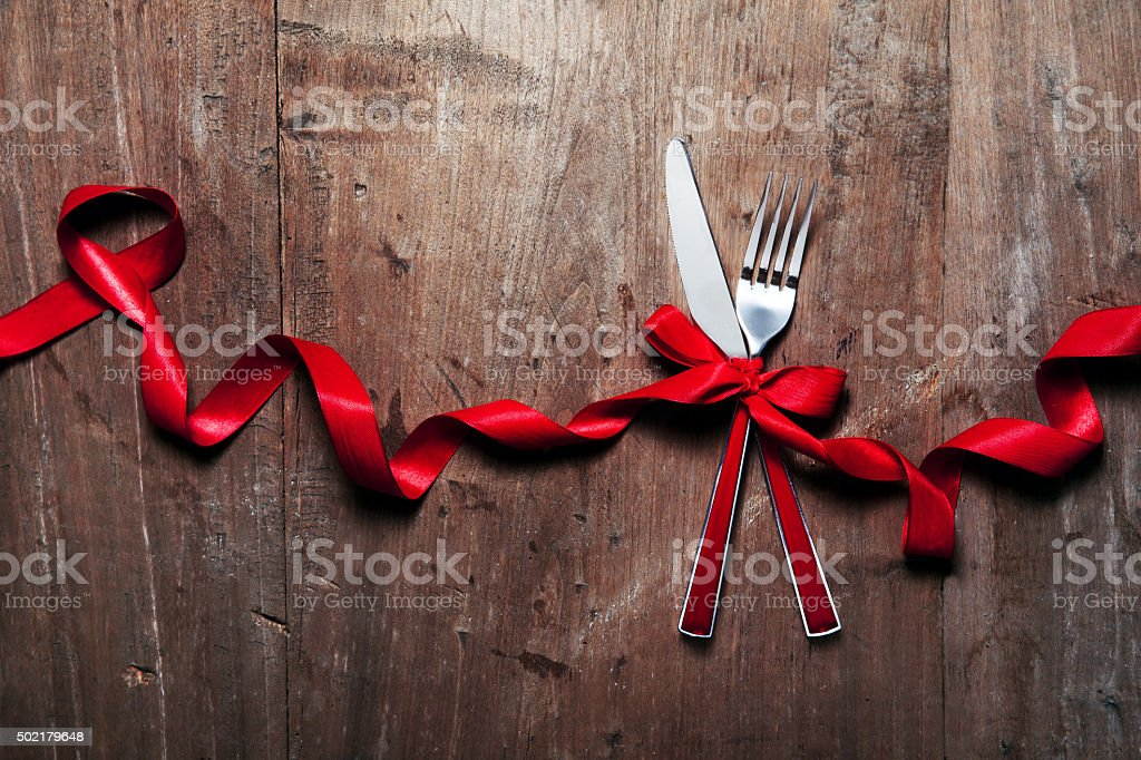 Christmas table place setting. Holidays background stock photo