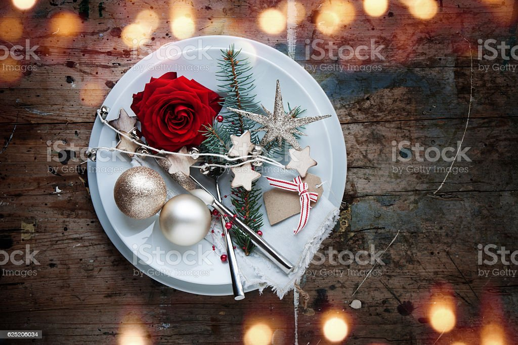 Christmas table place setting in shabby chic style stock photo