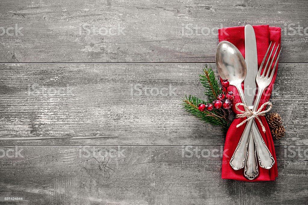 Christmas table place setting stock photo
