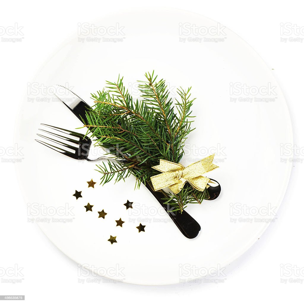 Christmas table place setting with  decorations isolate royalty-free stock photo