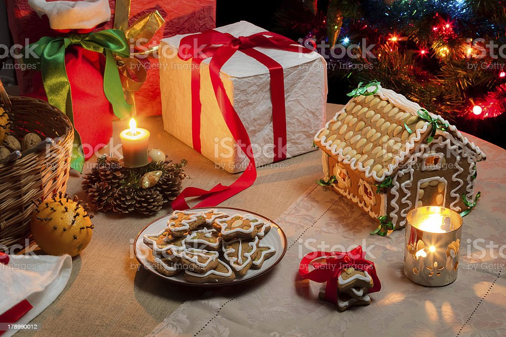 Christmas table set with gingerbread cakes royalty-free stock photo